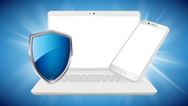 データ保護。ノートパソコンのスマートフォンのモックアップ、白いデバイスとシールド。あなたの個人情報ベクトルポスターテンプレートを保存します。イラストシールドスマートフォンデータ、安全ラップトップデバイス