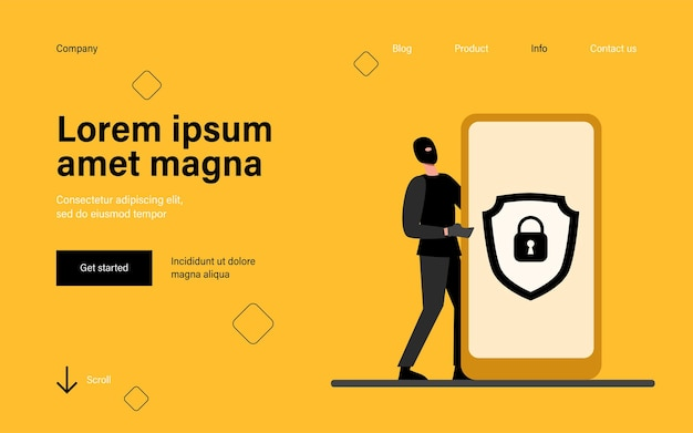 Data protection on mobile phone landing page in flat style