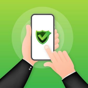 スマートフォンのイラストのデータ保護