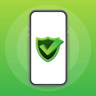 スマートフォンのデータ保護、プライバシー、インターネットセキュリティ。図。