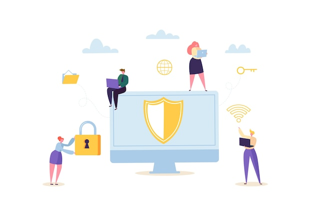 Data protection privacy concept. confidential and safe internet technologies with characters using computers and mobile gadgets. network security.