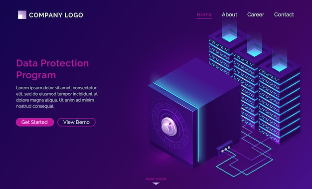 Data protection program landing page