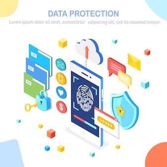 Защита данных. отсканируйте отпечаток пальца на мобильный телефон. система безопасности смартфона. цифровая подпись. технология биометрической идентификации, персональный доступ. изометрический замок, ключ, щит.