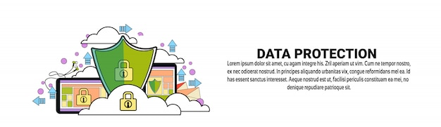 Data protection security concept horizontal banner template