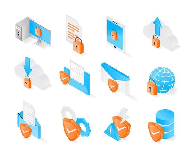 アイソメトリックスタイルのデータ保護セキュリティアイコンは、プレミアムモダンベクトルを設定します