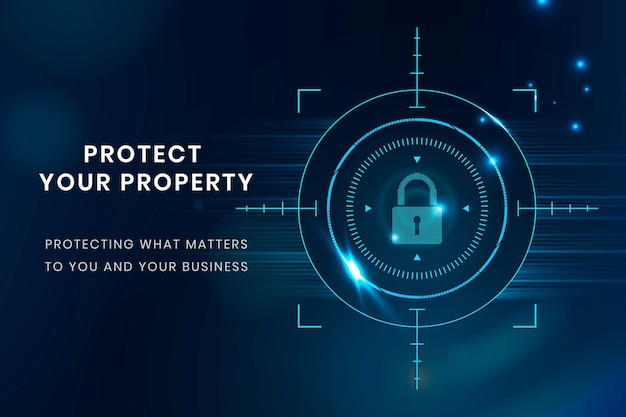 Data protection technology template vector with lock icon