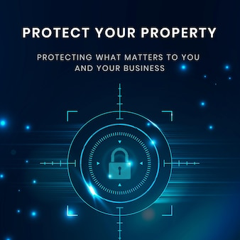 Шаблон технологии защиты данных со значком замка