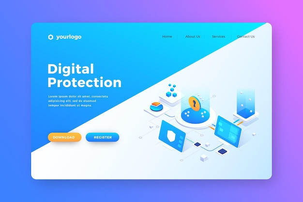 Data protection for users landing page