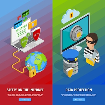 Data protection vertical banners set