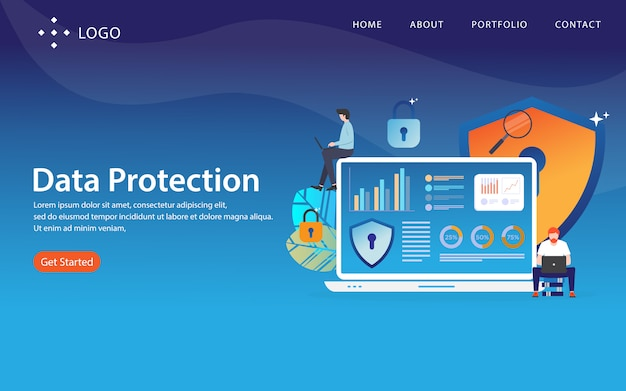Data protection, website template,  layered, easy to edit and customize, illustration concept