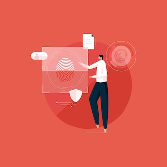 Защита данных с помощью системы интеллектуальной блокировки отпечатков пальцев и биометрической верификации личности Premium векторы
