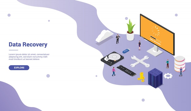 Data recovery from bad sector server database with some hardware for website template landing homepage with team people and modern flat style isometric
