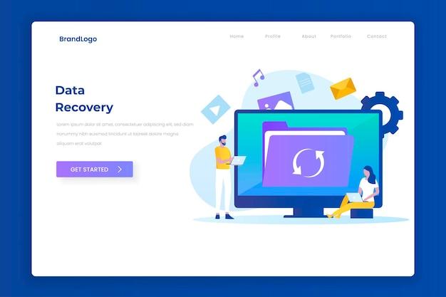 Целевая страница концепции дизайна иллюстрации восстановления данных. иллюстрации для сайтов, лендингов, мобильных приложений, постеров и баннеров.