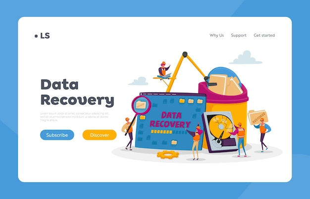 Data recovery service, backup and protection, hardware repair landing page template