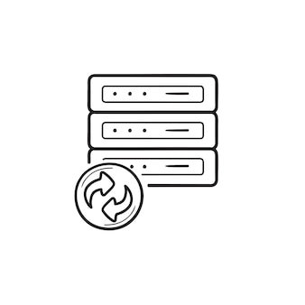 矢印の手描きのアウトライン落書きアイコンによるデータ回復。データバックアップ、サーバーバックアップ、データ同期の概念。白い背景の上の印刷、ウェブ、モバイル、インフォグラフィックのベクトルスケッチイラスト。