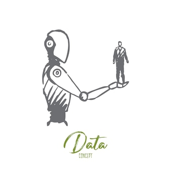 Data, robot, technology, machine, intelligence concept. hand drawn human on hand of robotic concept sketch.