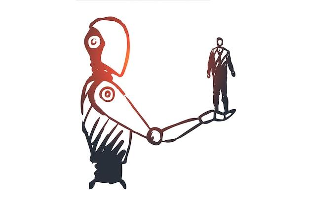 データ、ロボット、テクノロジー、マシン、インテリジェンスの概念。ロボットの概念スケッチの手に手描きの人間。