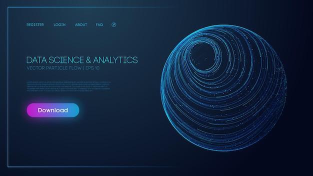 Наука о данных и аналитика. синий фон технологии. безопасность данных 3d векторный фон. eps 10.
