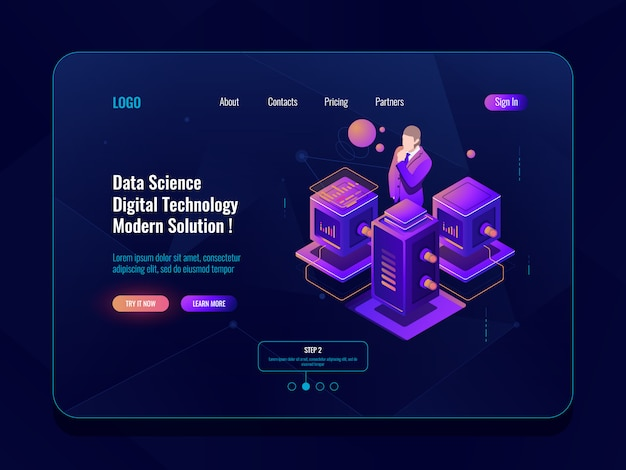 Data science, big data processing, server room, database and data center concept