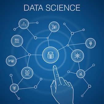 Data science concept, blue background. machine learning, big data, database, classification