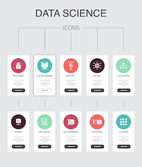 データサイエンスインフォグラフィック10ステップのuiデザイン。機械学習、ビッグデータ、データベース、分類のシンプルなアイコン