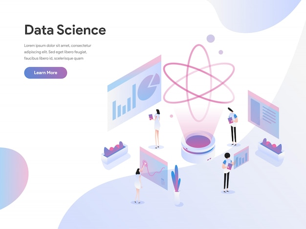 Data science isometric illustration concept