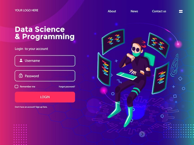 Data science, programming, software development, game development, business graph, analytics data, and coding website template