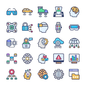 Data science technology flat vectors pack