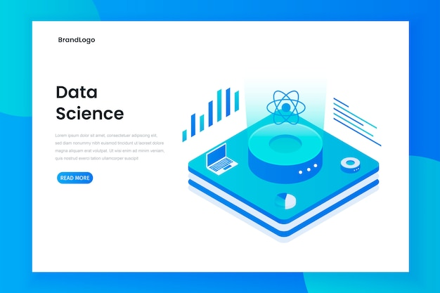 Data science technology in isometric vector illustration
