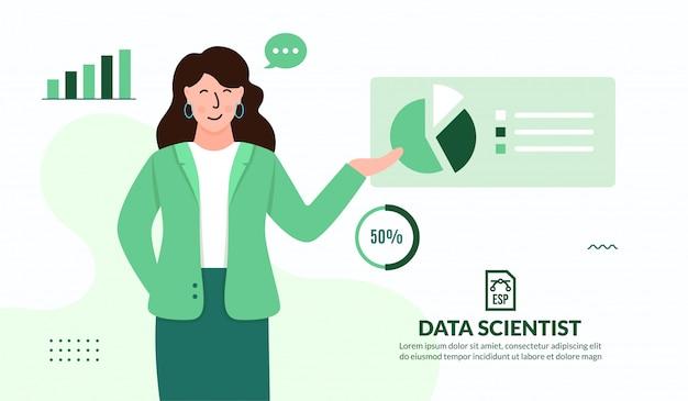 Специалист по анализу данных и анализу бизнес-данных Premium векторы