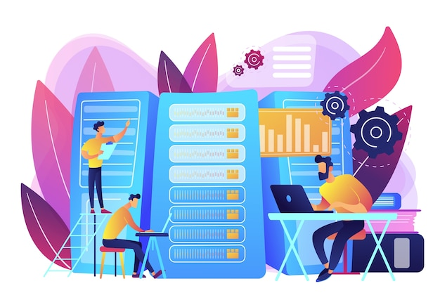 データサイエンティスト、データ分析マネージャー、データベース開発者、管理者が働いています。ビッグデータの仕事、データベース開発者、ビッグデータの概念におけるキャリア。明るく鮮やかな紫の孤立したイラスト