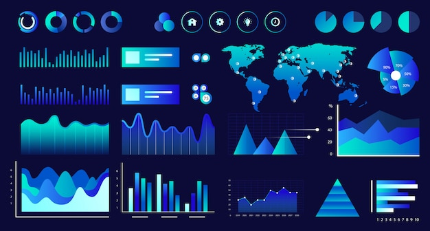 Data screen of assorted vector graphs, charts, diagrams.