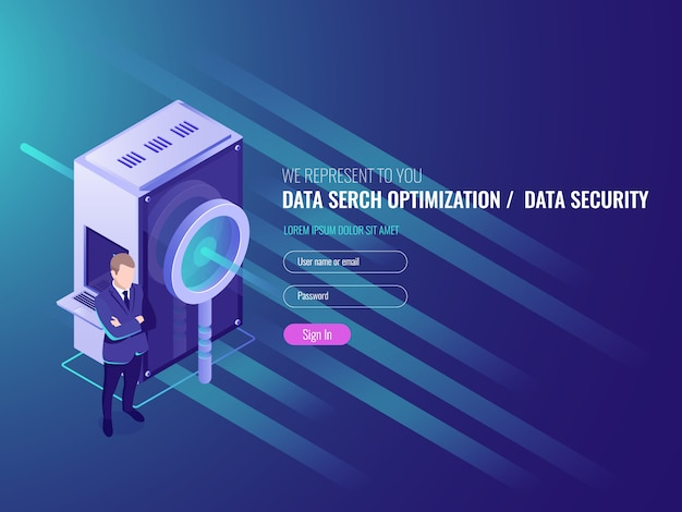 Data search optimization, information server, protection and security of database