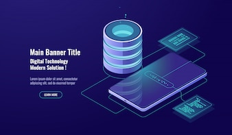 データセキュリティと暗号化、データベースの概念、サーバールーム、データウェアハウス、デジタル技術