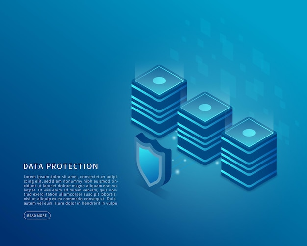 Data security concept in isometric vector illustration data and online server protection system vector illustration
