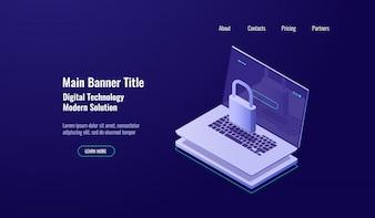 Концепция защиты данных изометрической защиты, ноутбук с замком, защита учетной записи, безопасная сеть