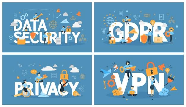 データセキュリティのレタリング。インターネットでの保護情報のアイデア。セキュリティと安全性の概念。フラットのベクトル図