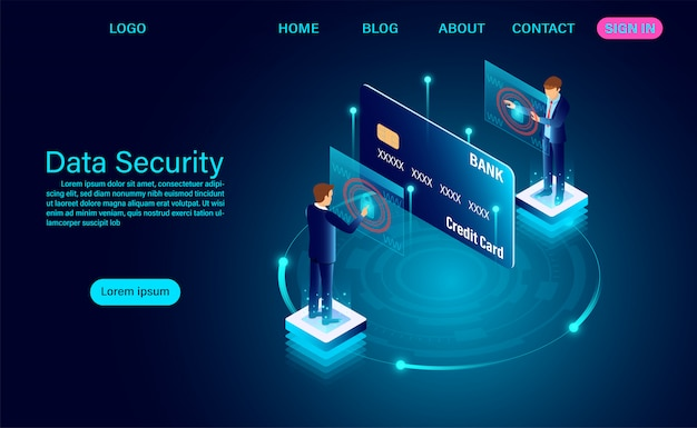Data security modern concept. protection data finance from thefts and hacker attacks landing page