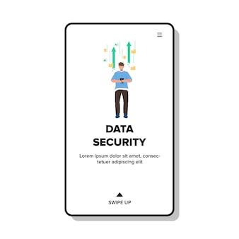 Служба безопасности данных для безопасного вектора информации. система защиты данных для защиты цифровой информации, кибербезопасность. персонаж человек, использующий мобильный телефон, киберзащита веб-плоский мультфильм иллюстрации