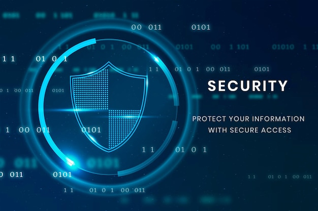 Data security technology template with shield icon