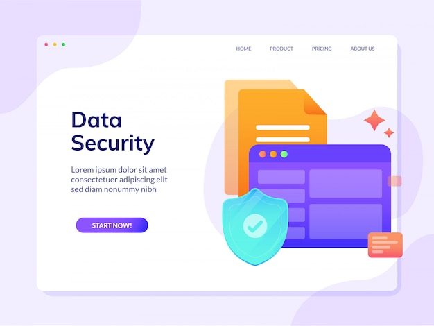 Data security website landing page vector design illustration template