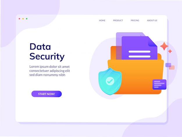 Data security website landing page vector design template