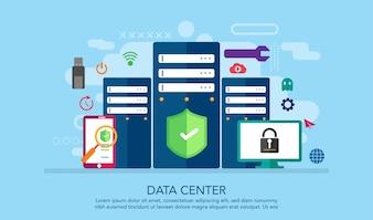 Data Server Center Flat Design Concept, Landing Page Concept Background