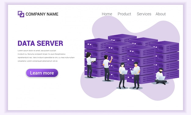 Data server concept. people working on laptop managing files and data in server