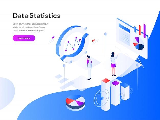Data statistics isometric web banner