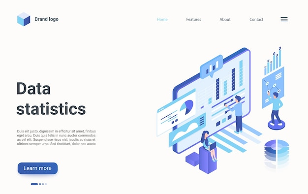 Data statistics visualization isometric landing page work on statistical data analysis
