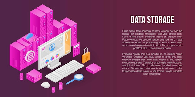 Data storage concept banner, isometric style