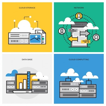 Data storage designs collection Free Vector