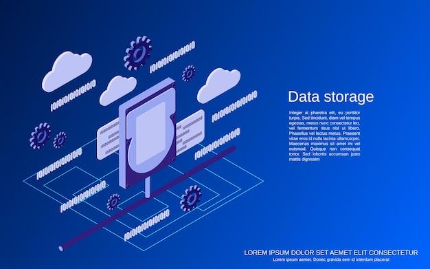 Data storage flat 3d isometric concept illustration