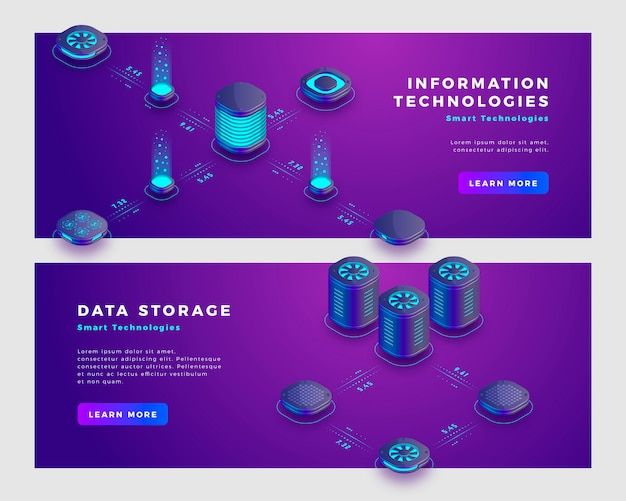 Data storage and information technology concept banner template.